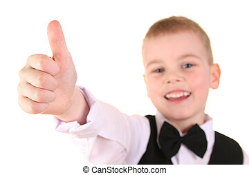 child giving OK gesture