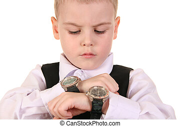 boy with clocks