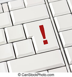 Computer keyboard with a red exclamation mark - Computer...
