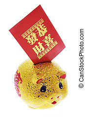 Chinese Piggy Bank and Red Packet on White Background