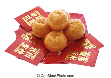 Mandarines and Chinese New Year Red Packets