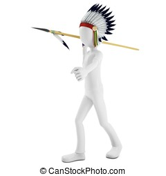 3d man native indian warrior throwing spear on white...