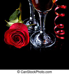 Rose with glasses and a red tape Alcohol and flower Glasses...