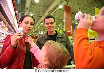 family tasting in shop