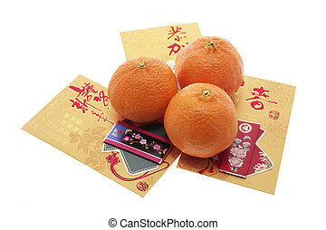 Chinese New Year Mandarins and Red Packets