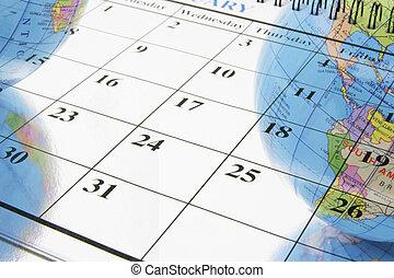 地球儀, カレンダー