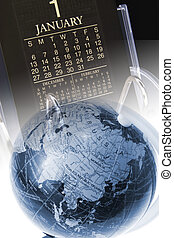 Composite of Globe and Desk Calendar