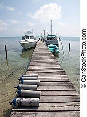 Caye Caulker, Belize - Dock for diving in Caye Caulker,...
