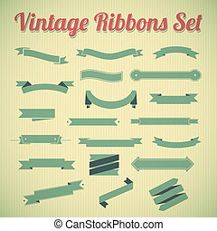 Vintage styled ribbons collection. Vector Illustration for...