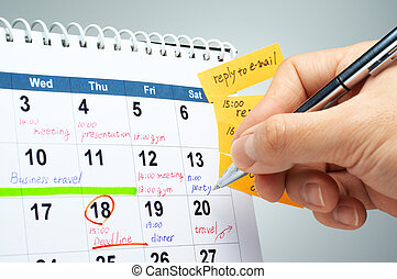 Planing a schedule - Writing on the calendar