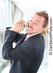 hungry angry businessman with money