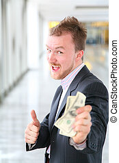 money businessman with ok gesture