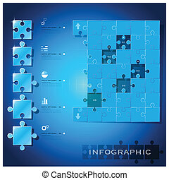 Modern Jigsaw Puzzle Business Infographic Background Design...