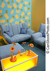 color flower and sofa
