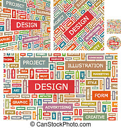 DESIGN Word cloud illustration Tag cloud concept collage