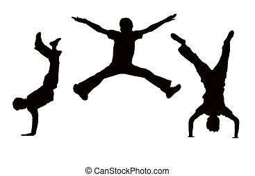 salto, meninos
