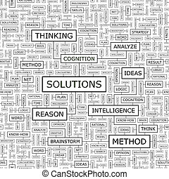 SOLUTIONS. Seamless pattern. Word cloud illustration.