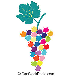 Abstract colorful bunch of grapes