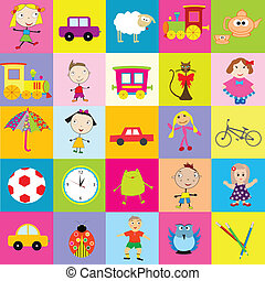 Background for kids with toys