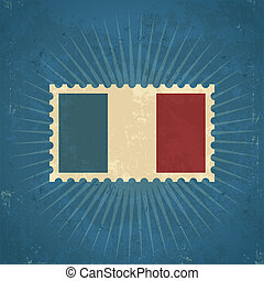 Retro France Flag Postage Stamp