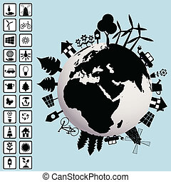 Ecological concept with Earth and environment icons