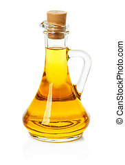 jar, decanter with olive or sunflower oil isolated on the...