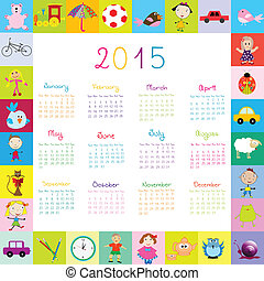 Frame with toys 2015 calandar for kids