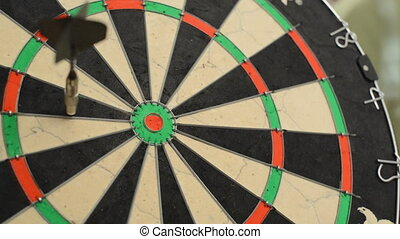 Dart board close up, centered bullseye