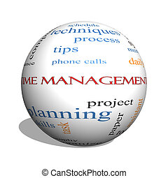 Time Management 3D sphere Word Cloud Concept with great...