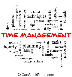 Time Management Word Cloud Concept in red caps with great...