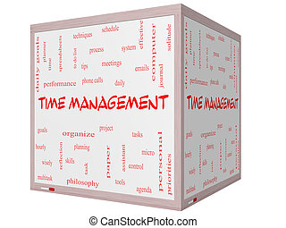 Time Management Word Cloud Concept on a 3D cube Whiteboard...