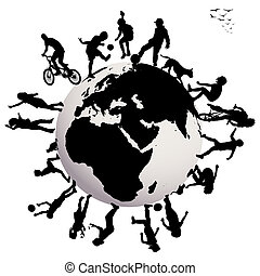 Happy children silhouettes playing over Earth globe