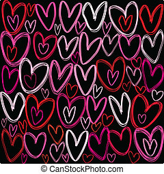 Hearts over black background