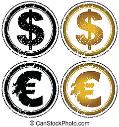 Rubber stamp set with dollar and euro symbols