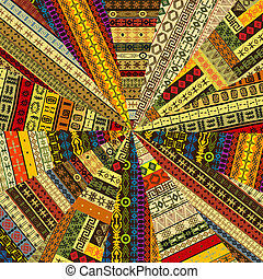 Sunburst made of patchwork fabric witf ethnic motifs