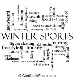 Winter Sports Word Cloud Concept in black and white with...