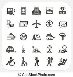 Travel and Vacation icons set, EPS10, Dont use transparency...