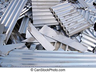 Aluminium recycling - Aluminium scrap meatl sheets on a...