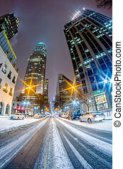 charlotte nc usa skyline during and after winter snow storm...