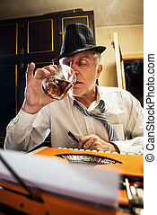 Retro Senior Man writer with a glass of whiskey - Retro...