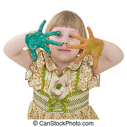 Little girl with multicolored palm