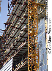 construction of building - construction of big building in...
