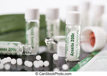 Homeopathic Medicine - Bottles with homeopathic remedies....
