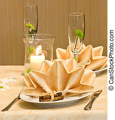 Decorated table - Wedding table decorated with flower and...