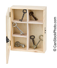 Keys in wooden box - Wooden box with old keys on white...