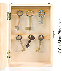 Moving keys in wooden box - Static key between the moving in...