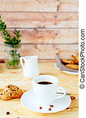 morning coffee with cookies, food closeup