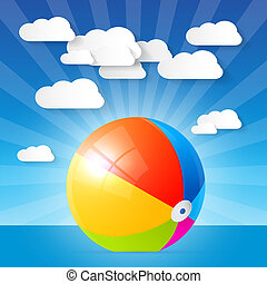 Colorful Vector Beach Ball in the Water - Ocean