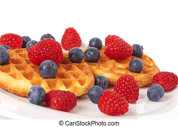 Belgian waffles with berries - Belgian waffles with fresh...