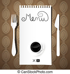 Paper Restaurant Menu with Knife, Fork and Coffee Cup on Retro Background